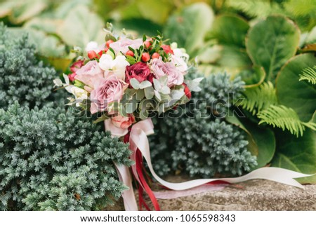 a wedding bouquet of roses and peonies of berries and verdure stands on a square among the bushes of fir and fern #1065598343
