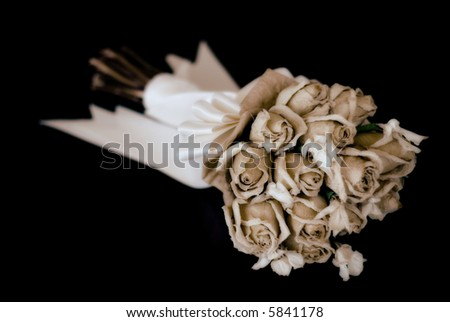 A wedding bouquet with dried flowers. Shallow depth of field with focus on the flowers. Processed for a vintage look. Short depth of field. #5841178