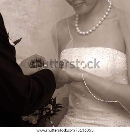 A wedding ceremony where bride and groom are exchanging wedding rings