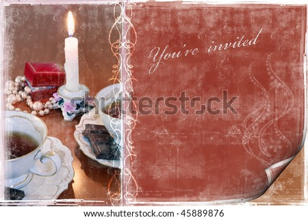 stock photo A wedding invitation card with a frame for a sample text