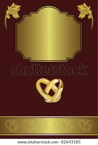 stock photo A wedding invitation card with intertwined gold rings and room