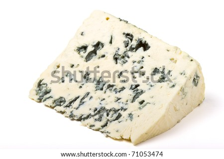 A wedge of full fat soft blue cheese isolated on white. ストックフォト ©