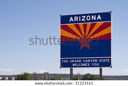 A welcome sign at the Arizona state line