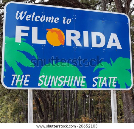 A welcome sign at the Florida state line