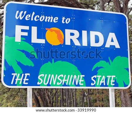 A welcome sign at the Florida state line.