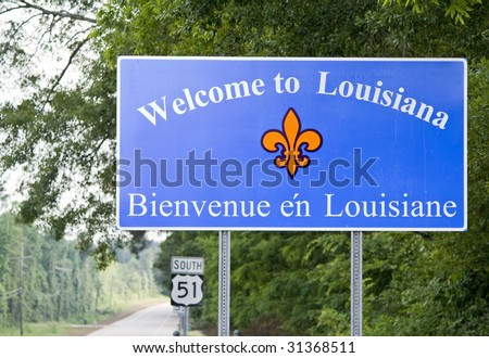 A welcome sign at the Louisiana state line