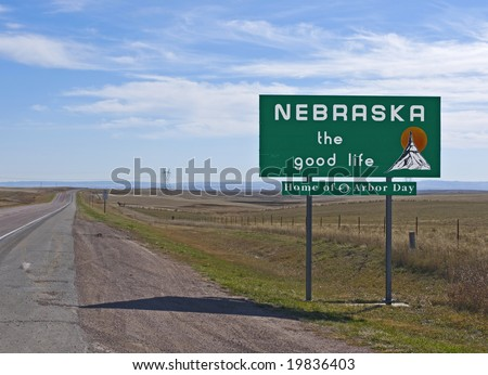 A welcome sign at the Nebraska state line