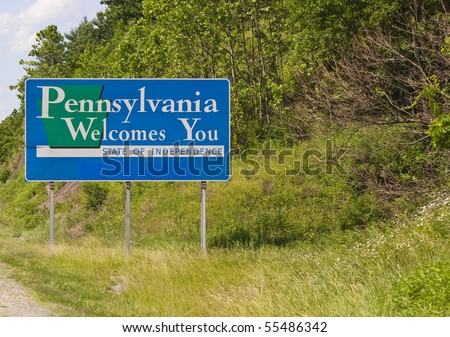 A welcome sign at the Pennsylvania state line.