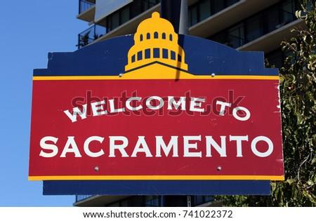 A welcome sign in downtown Sacramento, California. #741022372