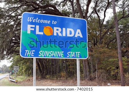 "A ""Welcome to Florida"" sign at the state line."