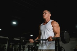 A well built and fit asian man in a white tank top does some barbell curls at the gym. An active 40 year old with healthy lifestyle.