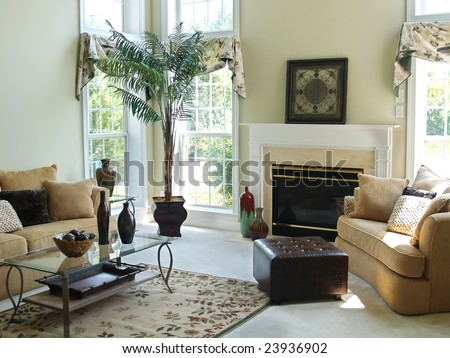 A Well Decorated Family Room In Modern American Home