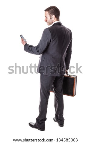 a well dressed businessman standing over a white background with a suitcase