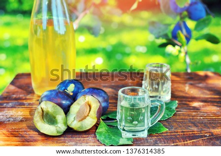 A well-known brandy rakia slivovitz in shot glasses with plums on wooden table in orchard.  Traditional Serbian brand alcoholic drink of organic production.Human hand pouring a well-known brandy rakia #1376314385