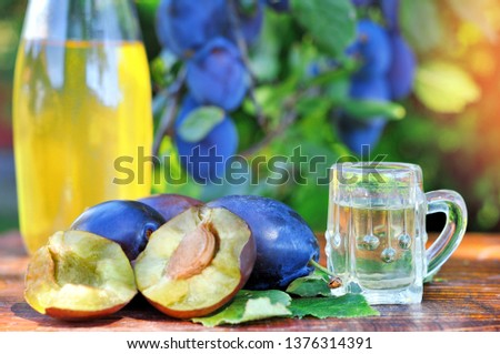 A well-known brandy rakia slivovitz in shot glasses with plums on wooden table in orchard.  Traditional Serbian brand alcoholic drink of organic production.Human hand pouring a well-known brandy rakia #1376314391