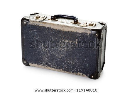 a well worn battered vintage blue suitcase on white