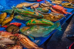 A wet market selling different colorful fishes with people buying