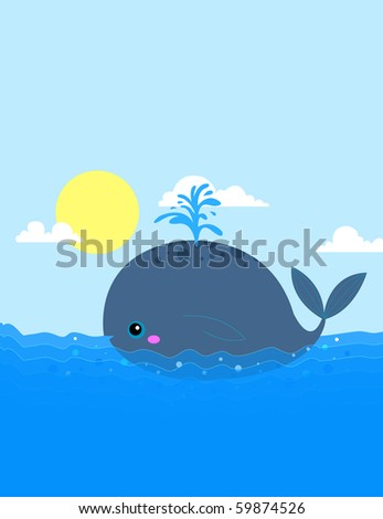 A whale spouting water in the ocean - RASTER (vector version also available)