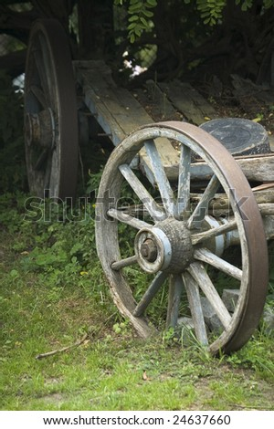 A wheel of an old country (farm) cart (telega)