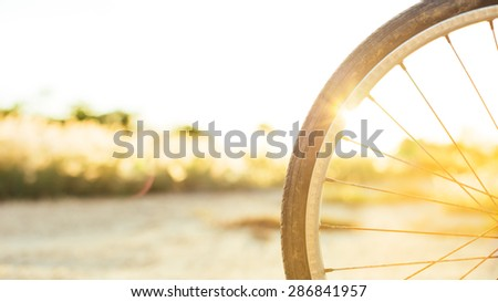 a wheel of bicycle in the evening,the sunset light. #286841957