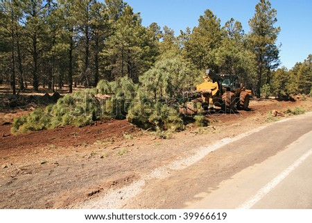 a wheeled skidder drags a pine tree along the side of a road