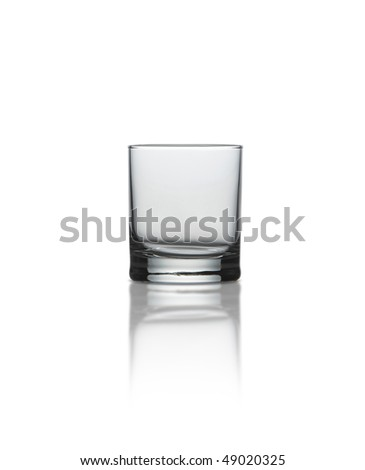 A whisky glass on white background with path