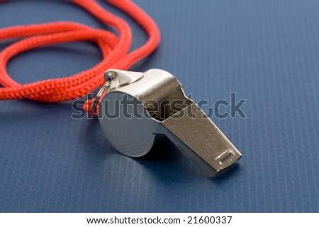 a whistle with blue background