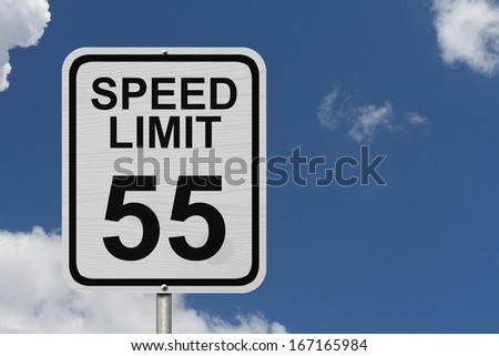 A white American road sign with words Speed Limit and 55 with sky background, Speed Limit 55 Sign
