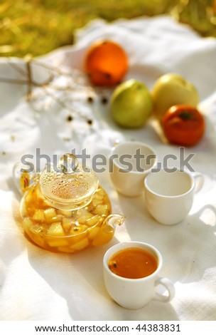 A white background in outdoor fruit tea