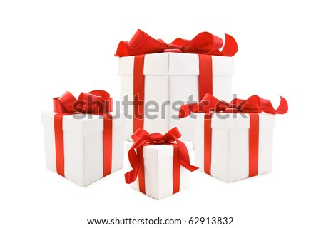 A white boxs tied with a red satin ribbon bow. A gift for Christmas, Birthday, Wedding, or Valentine's day. Isolated on white with clipping path.