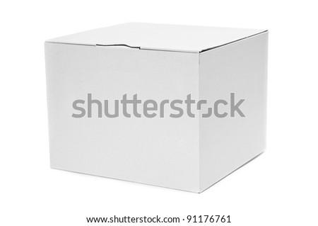 a white cardboard box on a white background