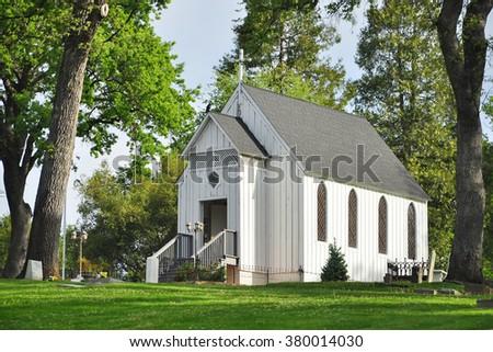 A white church in the garden , Oakhurst, California, USA