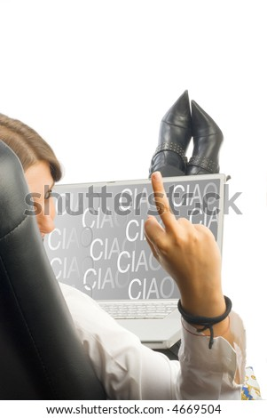 a white collar worker dressing a white shirt sitting on an armchair working with a computer with a ciao screen saver that you can easy take off