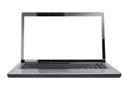 A white computer laptop is on a white, isolated background. It has a white screen to add your text message. Use it for a technology or web concept.