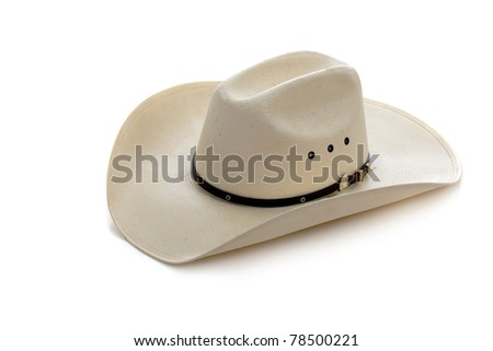 A white cowboy hat on a white background - stock photo