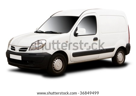 A White Delivery Van Isolated on White