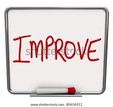A white dry erase board with red marker, with the word Improve, representing the drive to change or get better, succeeding over a challenge
