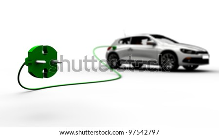A white electric car refuel with power - stock photo