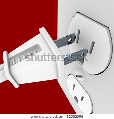 A white electrical power cord about to plug into a wall outlet