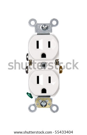 A white electrical power outlet isolated on white.