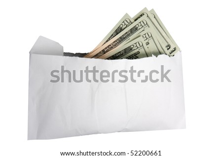 A white envelope stuffed full of 20 dollar bills.  Could be used to indicate a bribe or a donation.  Isolated on white with an accurate clipping path.