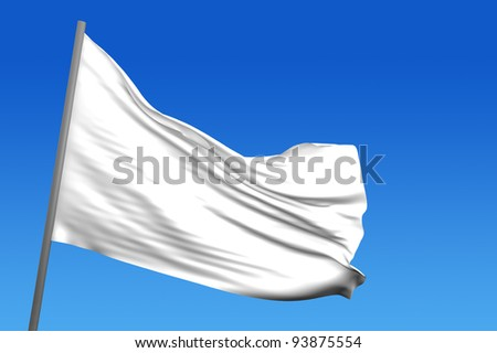 A white flag in a blue sky in background