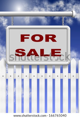 A white for sale sign and picket fence behind it with blue sky in the background / For sale
