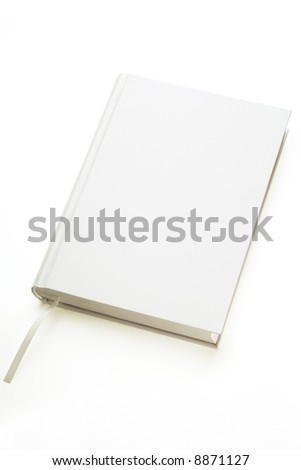 a white hard covered book on white background