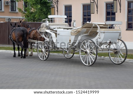 A white horse-drawn carriage with two horses, waiting for tourists on the old town square at the city of Kolomna, Russia. Soft focus.