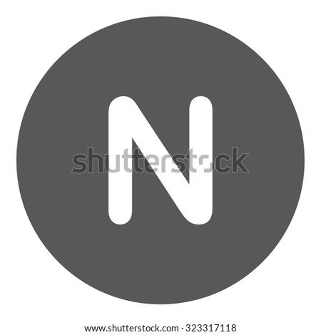 A White Icon Isolated on a Grey Background - N