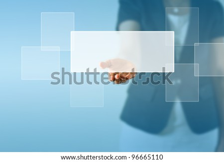 A white label above business woman hand