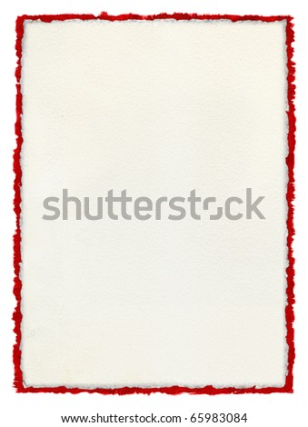 A white paper background with deckled edges over a deckled red watercolor border.