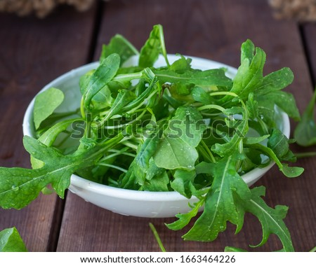 A white plate with a freshly picked arugula salad stands on a wooden table Foto stock ©