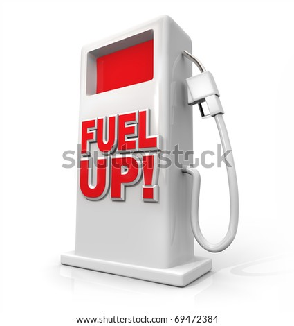 A white pump with red screen and the words Fuel Up on its front
